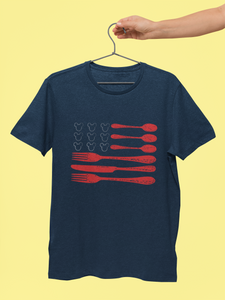 Americana style Navy Blue Tshirt with a print in the style of the US flag. Knives and Forks  are the stripes and the stars are little white mikcey logo's