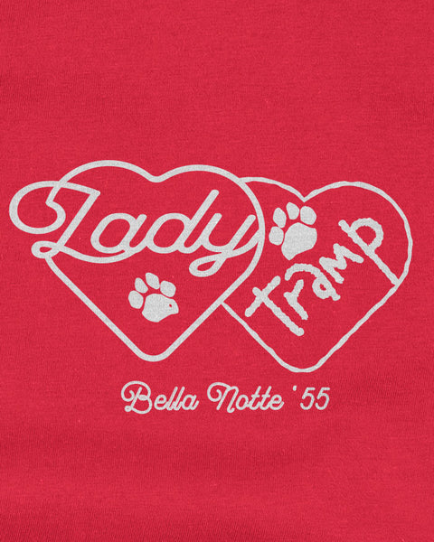 Interlocking lady and the tramp hearts with bella notte '55 underneath printed on a red tshirt