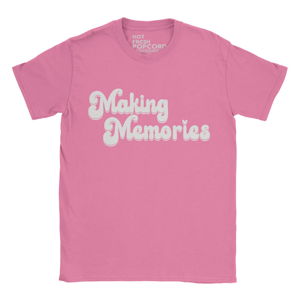 Retro style Making Memories Slogan Tshirt on Azalea Pink shirt