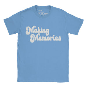 Retro style Making Memories Slogan Tshirt on Carolina Blue shirt