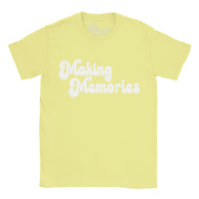 Retro style Making Memories Slogan Tshirt on Cornsilk Yellow shirt