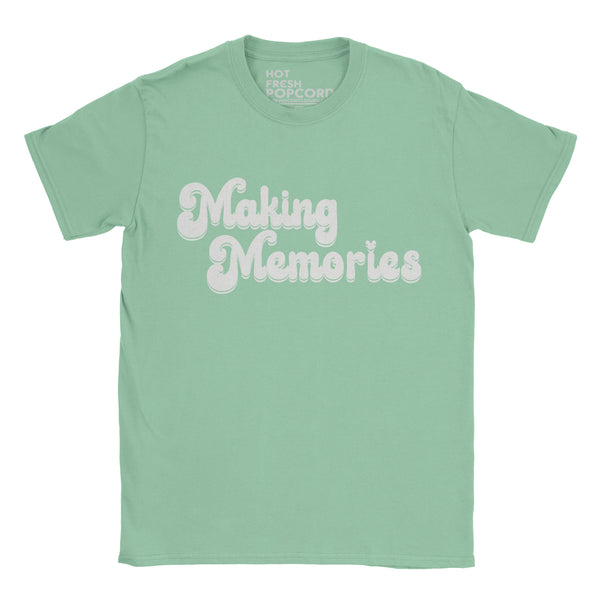 Retro style Making Memories Slogan Tshirt on Mint Green shirt