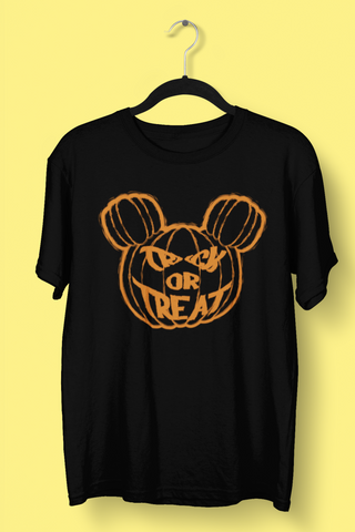Trick or Treat Mickey Pumppkin logo black tshirt