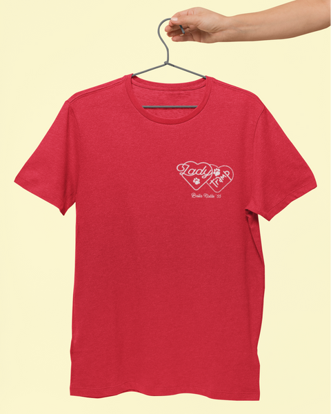 full image of a red tshirt on a hanger with the lady and the tramp logo design on the chest (pocket area)