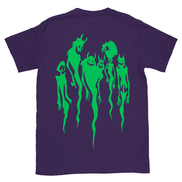 Friends on the Other Side spirits print in green on tge back of purple shirt