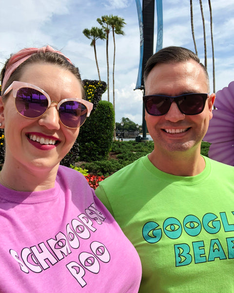 Couple wearing Schmoopsie Poo and Googly Bear Couples TShirts