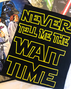 yellow star wars style slogan on a black tshirt