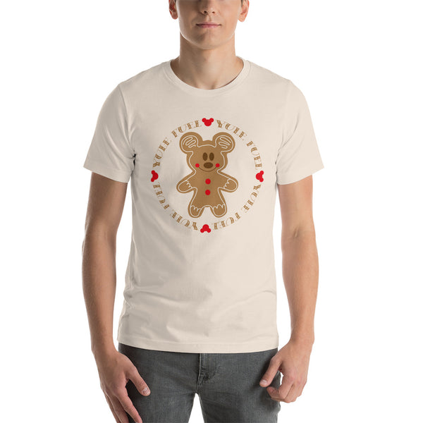 Man in a Cream t-shirt with a Gingerbread Mickey on the chest