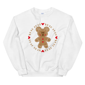 White Sweatshirt with a Gingerbread Mickey Cookie on  the chest. Around Mickey there is a circle reading Yule Fuel repeated