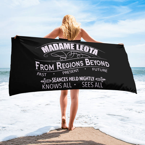 Madame Leota Black Beach Towel