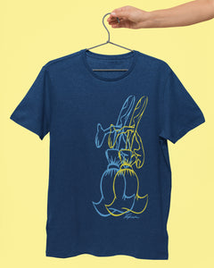 Sorcerers Apprentice overlapping Magical Broom TShirt. One broom is yellow the second is light blue they are large and off set to the right of the tshirt