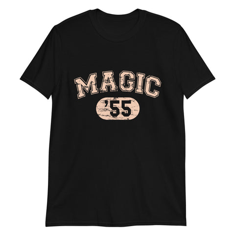 Black Tshirt with a soft pink college style logo reading magic 55 in tribute to Disneylands Magic Kingdom and it's opening date 1955