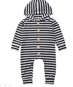 B&W Striped Hooded Romper