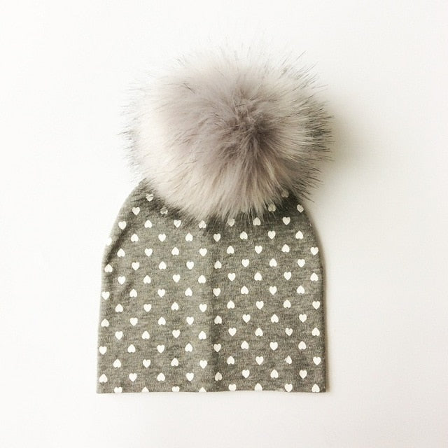 Grey Hears Faux Fur Pom Beanie