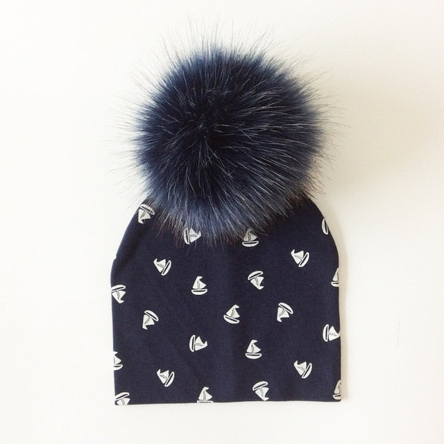Boats On Boats Faux Fur Pom Beanie