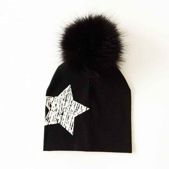 Large Star Faux Fur Pom Beanie