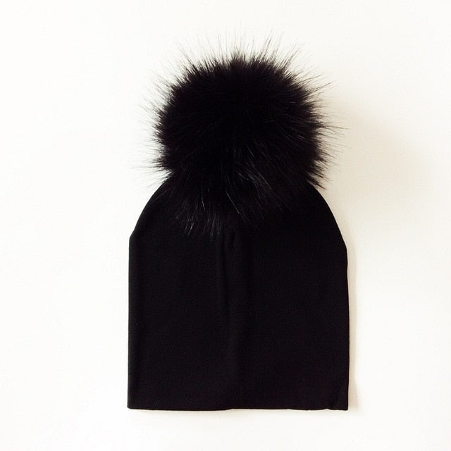 Midnight Faux Fur Pom Beanie