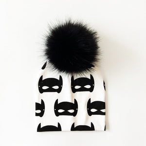 Large Batman Faux Fur Pom Beanie