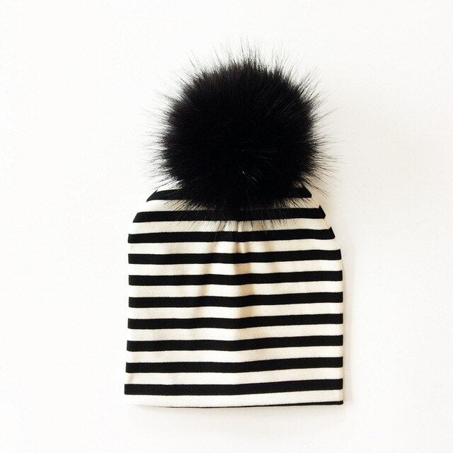 Striped Faux Fur Pom Beanie