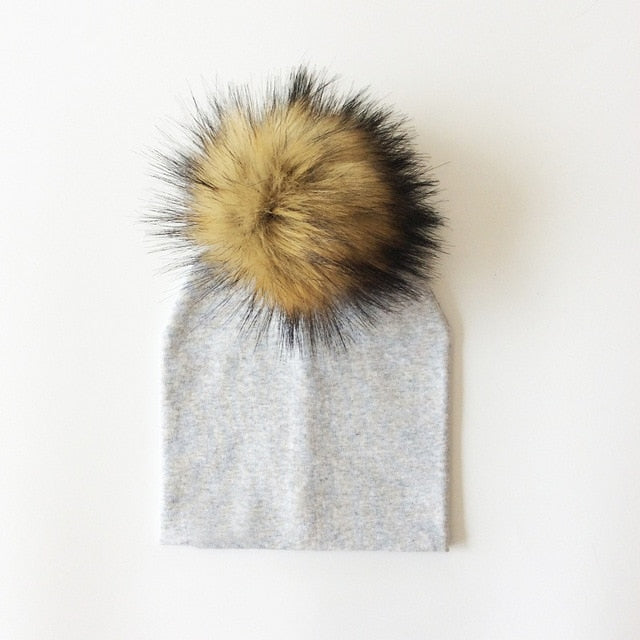 Solid Grey Faux Fur Pom Beanie