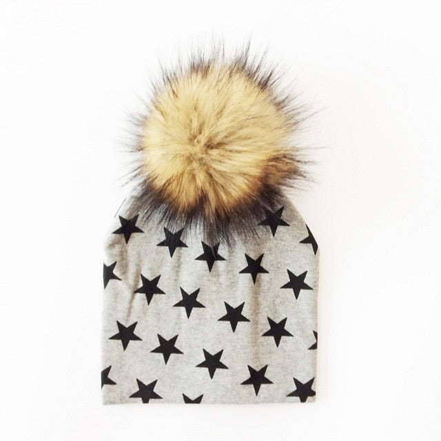 Black Star Faux Fur Pom Beanie