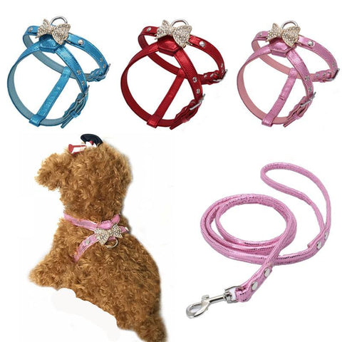 Rhinestone Bow Adjustable Leather Dog Harness