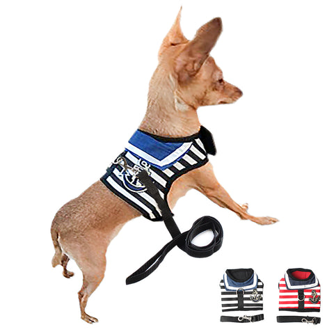 Nautical Stripe Dog Harness Set