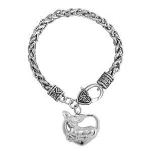 Bracelet - Chihuahua Dog Heart Charm Wheat Chain Bracelet
