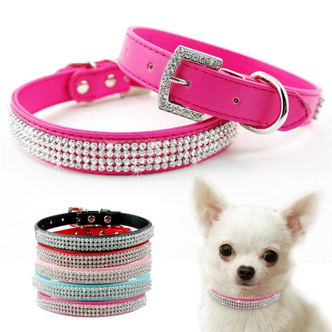 Dog Collars - Rhinestone Chihuahua Dog Adjustable Collar