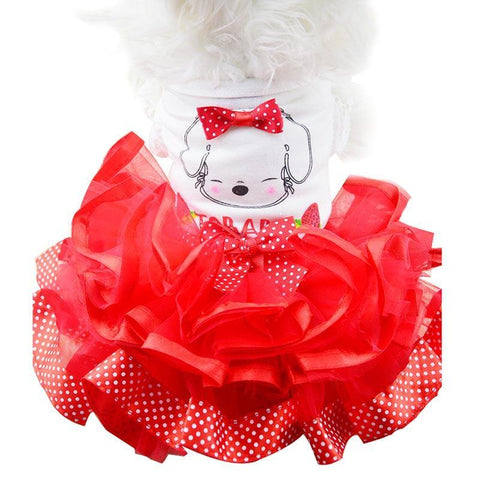 Dog Dresses - Polka Dot Bows & Tutu Skirt Dog Dress