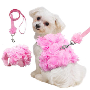 Dog Harness - Fancy Pink Flower Dog Harness Set