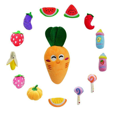 Dog Toys - Fruit-Vegetable-Lollipop Shaped Plush Squeaky Dog Toy