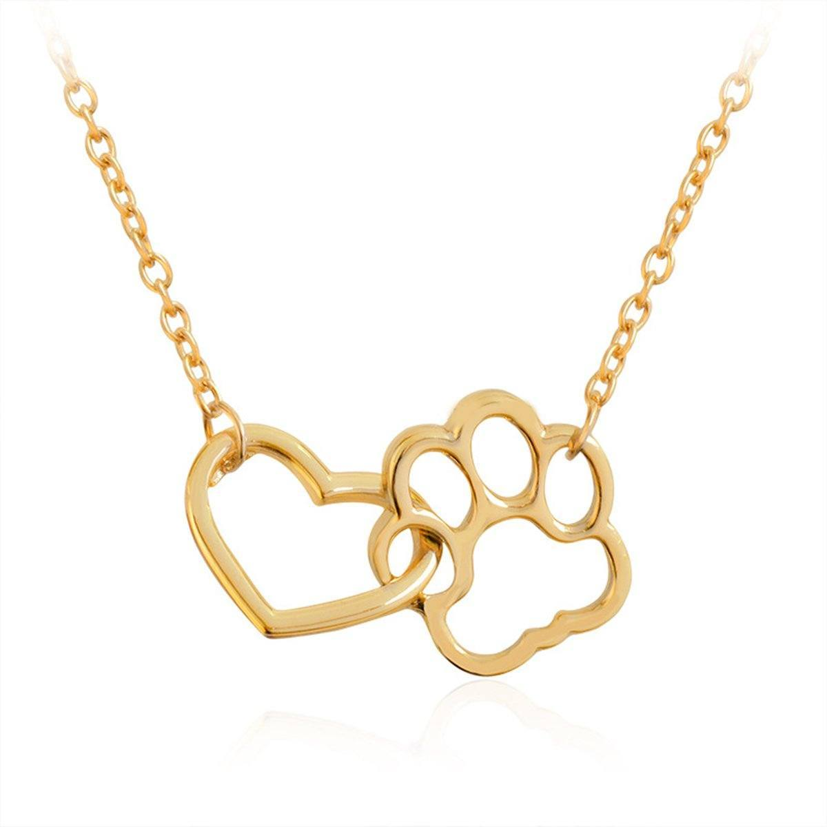 Pendant Necklace - Open Design Dog Inter-linked Paw Print & Heart Necklace