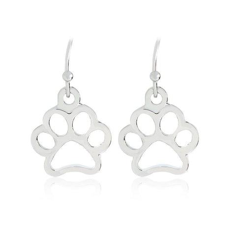 Stud Earrings - Open Design Dog Paw Print Dangle Earrings