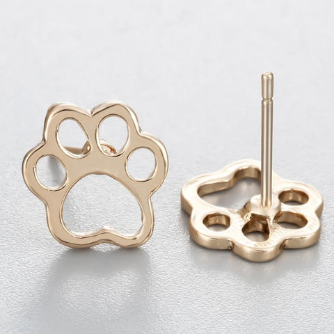 Stud Earrings - Open Design Dog Paw Print Stud Earrings