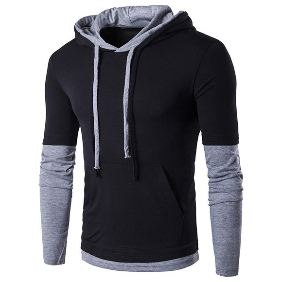 Men'S Hooded Stitching Design Tops & Tees T Shirt Men Long Sleeve Slim Male Tops XL