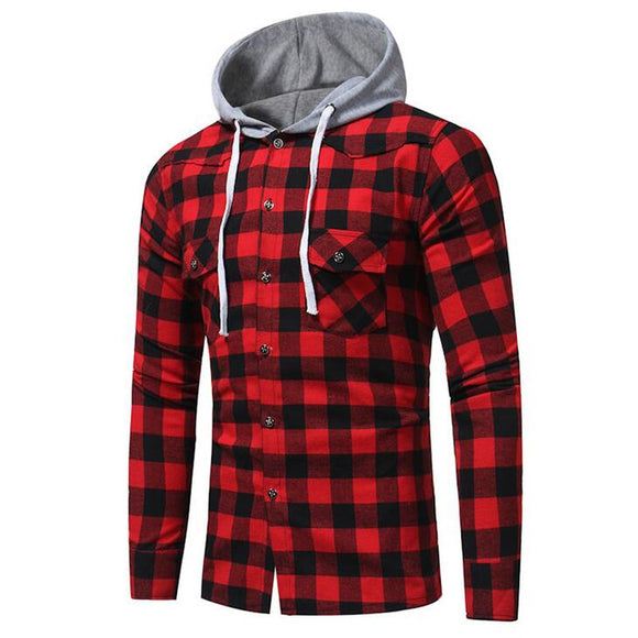 Men's Hooded Button Down Long Sleeve Casual Plaid Check Slim Fit Shirt