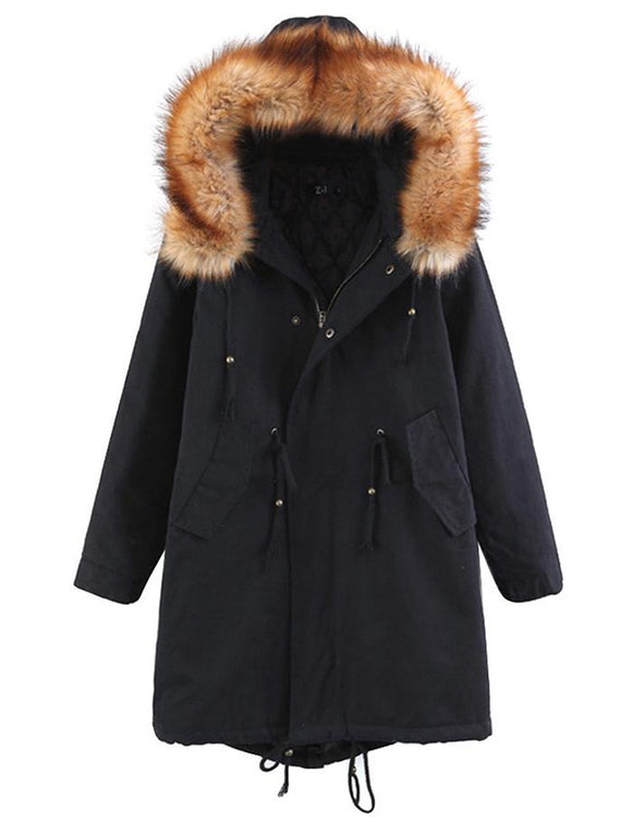 Women Hooded with Faux Fur Long Sleeve Jacket Coat Outwear