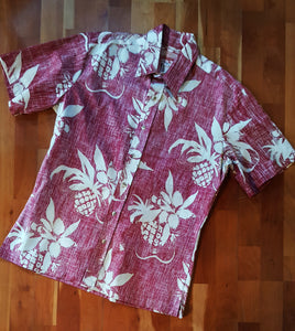 Reverse Print Aloha Shirt - Red - RJC - Cotton - Made Hawaii USA