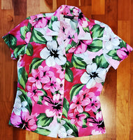 Pink Plumeria Ladies Fitted Hawaiian Blouse