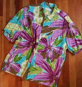 Jamsworld Hawaiian Aloha Shirt Purple Flower Print