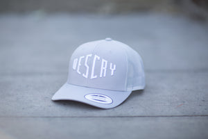 Silver Curved Peak Mesh Trucker