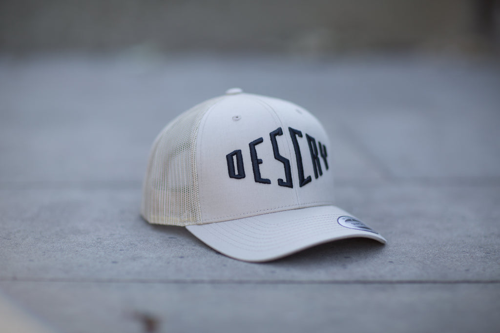 Beige/Black Curved Peak Mesh Trucker