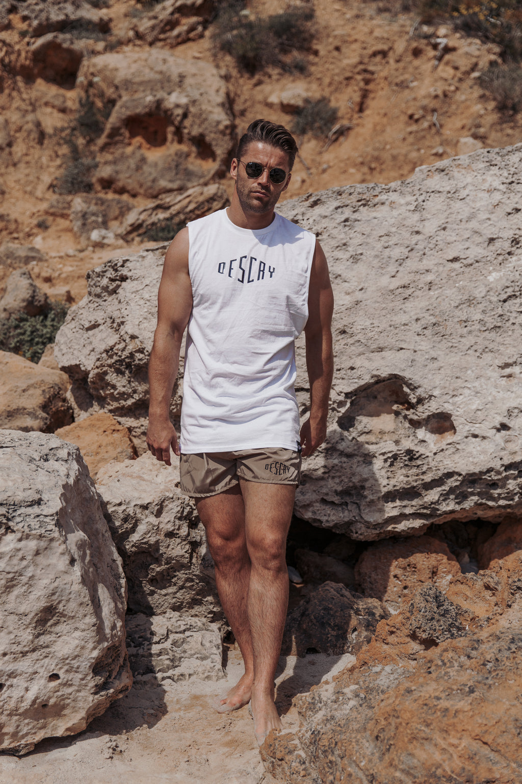 White Signature Sleeveless T-Shirt