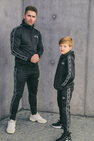 Kids Black Script Tape Poly Tracksuit