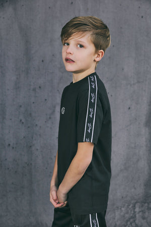 Kids Black Script Tape T Shirt
