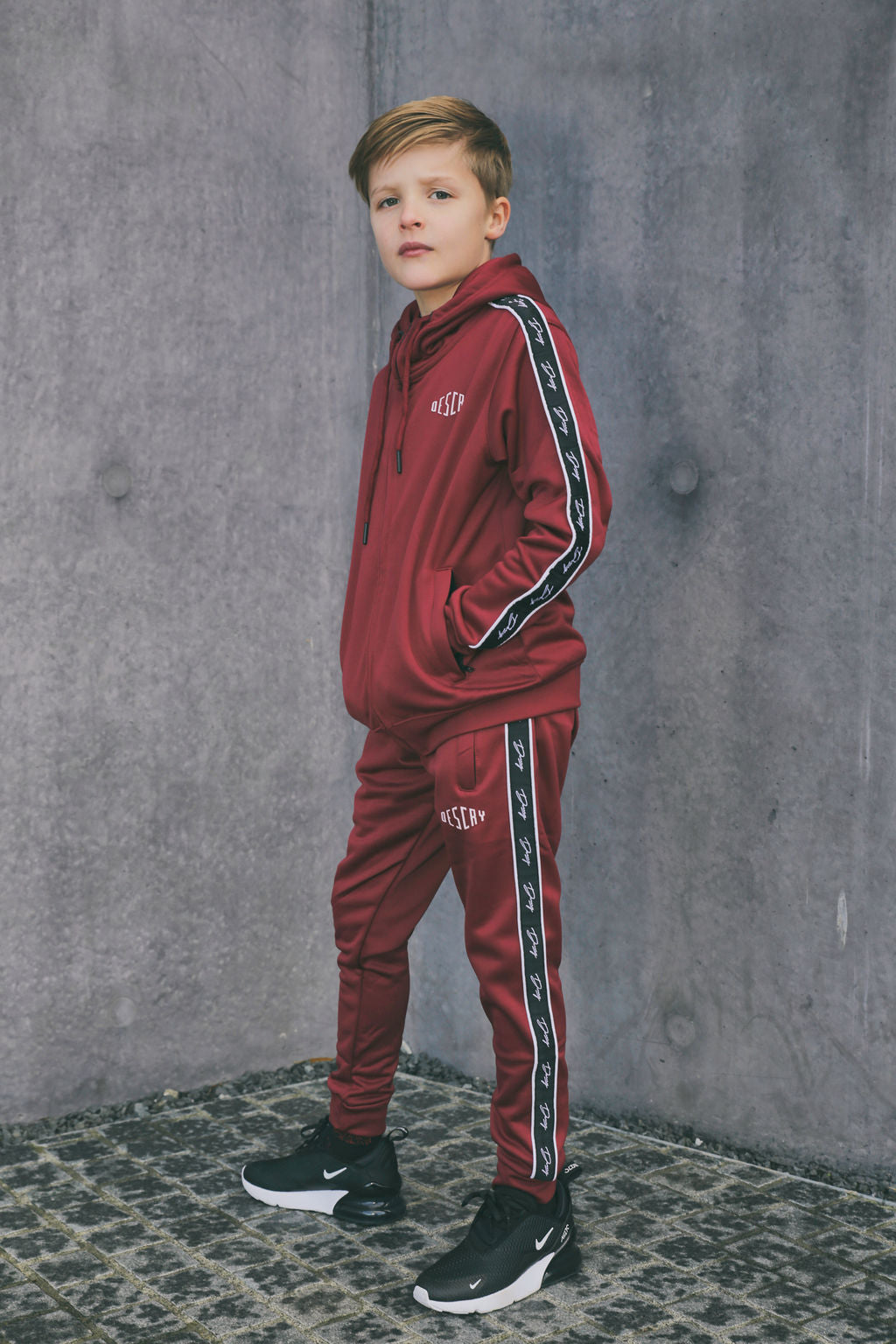 Kids Maroon Script Tape Poly Tracksuit
