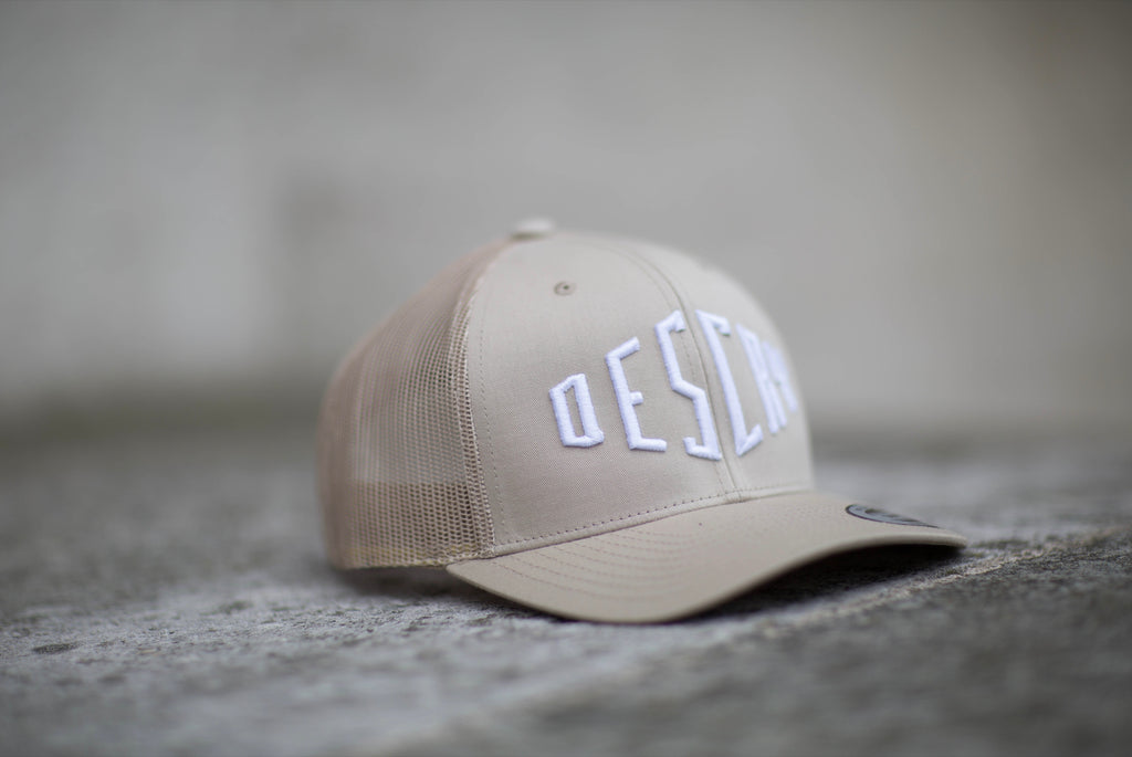 Beige Curved Peak Mesh Trucker