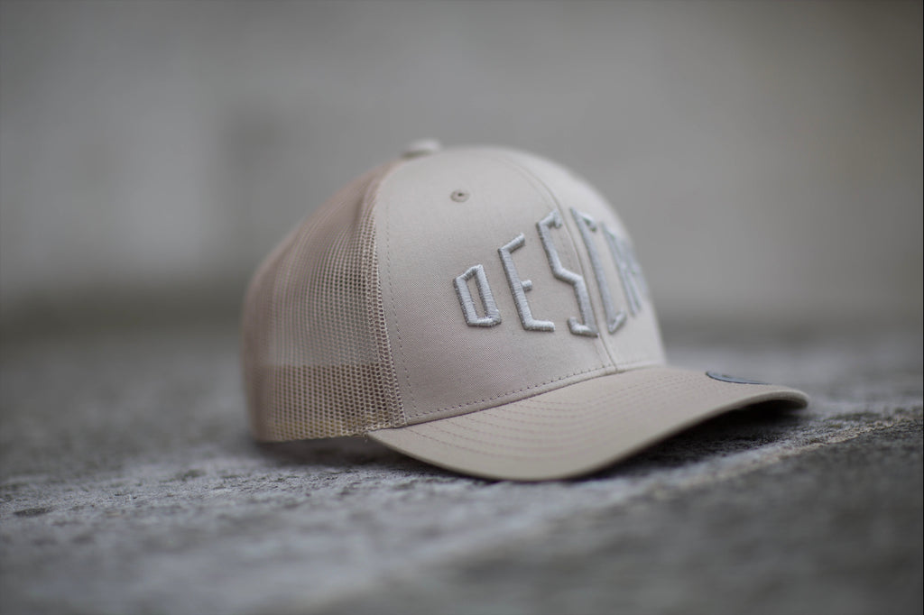 Beige On Beige Curved Peak Mesh Trucker
