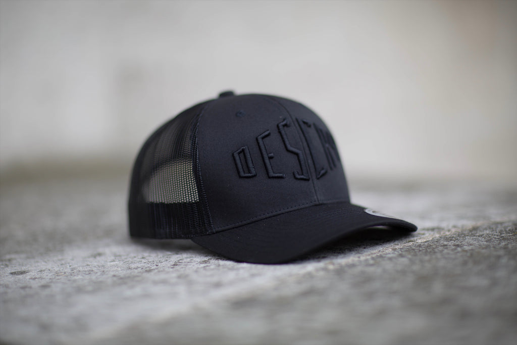 Black On Black Curved Peak Mesh Trucker